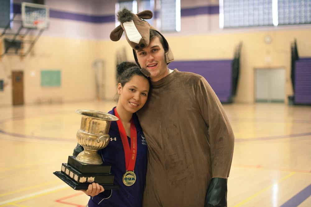Marie Lecoq (left) and Shaun O'Reilly (right). Marie won gold for Individual Women Sabre and Top Overall Female Fencer at Women's OUA 2016