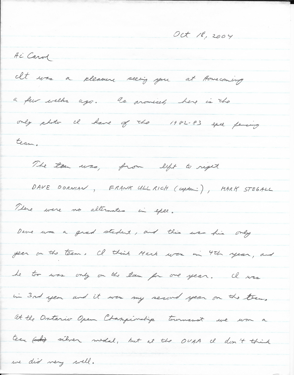 Frank Ullrich's Letter to Carol Christie