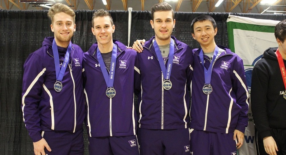Connor Wilson, Rainer Hilland, Shaun O'Reilly and Kai Chen (left to right) claims Silver for Men's Epee at Men's 2016 OUA's