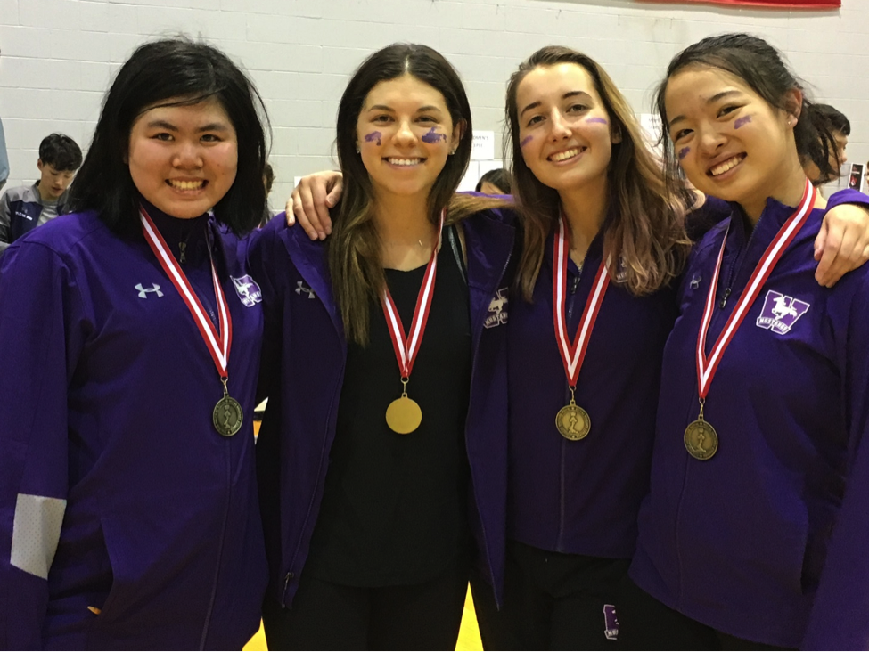 The gold medal-winning women's épée team (L-R): Nicola Cheng, Jennifer Kaminker, Olga Nova, Evelyn Zheng.