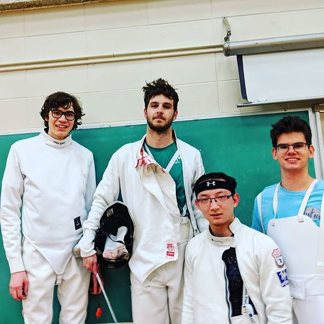 Great news today for Joe Wright seen here relaxing after a hard practice last Thursday night in #lndont. Joe won the Bronze at the Senior Men's Épée event of the #vangofencing tournament #purplepride💜