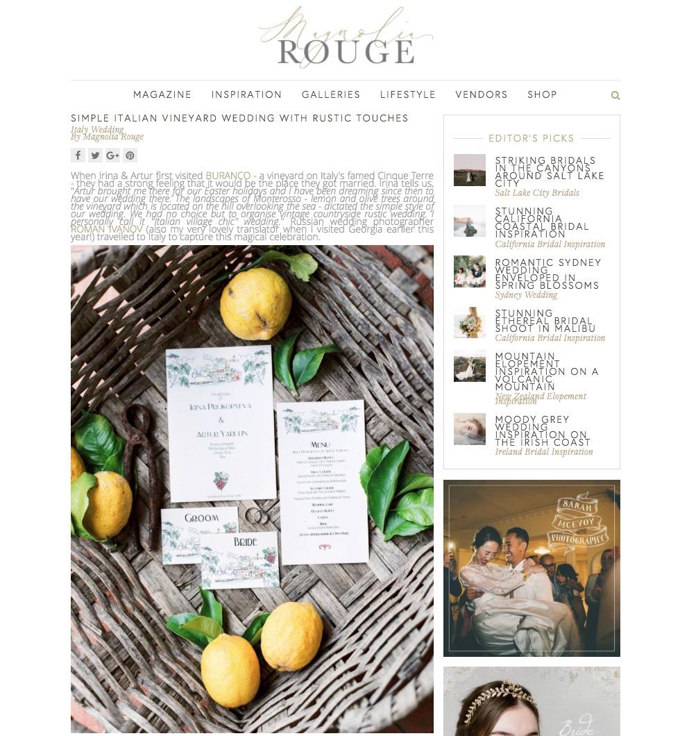 Публикация в одном из 2х самых именитых мировых свадебных блогов=)