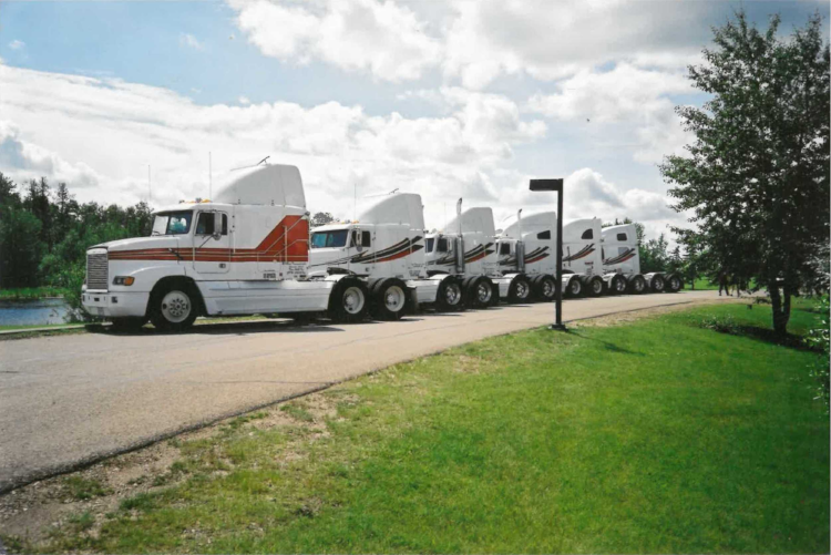 Rene Transport's fleet of 6 trucks in 2001.