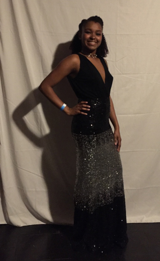 Shaquia Idlett's - sparkles were originally a New Year's Eve outfit that needed to come out of hiding. When not researching brain-machine interfacing, this biomedical engineer is rigging maxi skirts and black jumpers into beautiful evening-wear.