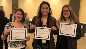 From left to right, Madelyn Houser, Jessica Shartouny, Madeline Price with their certificates.