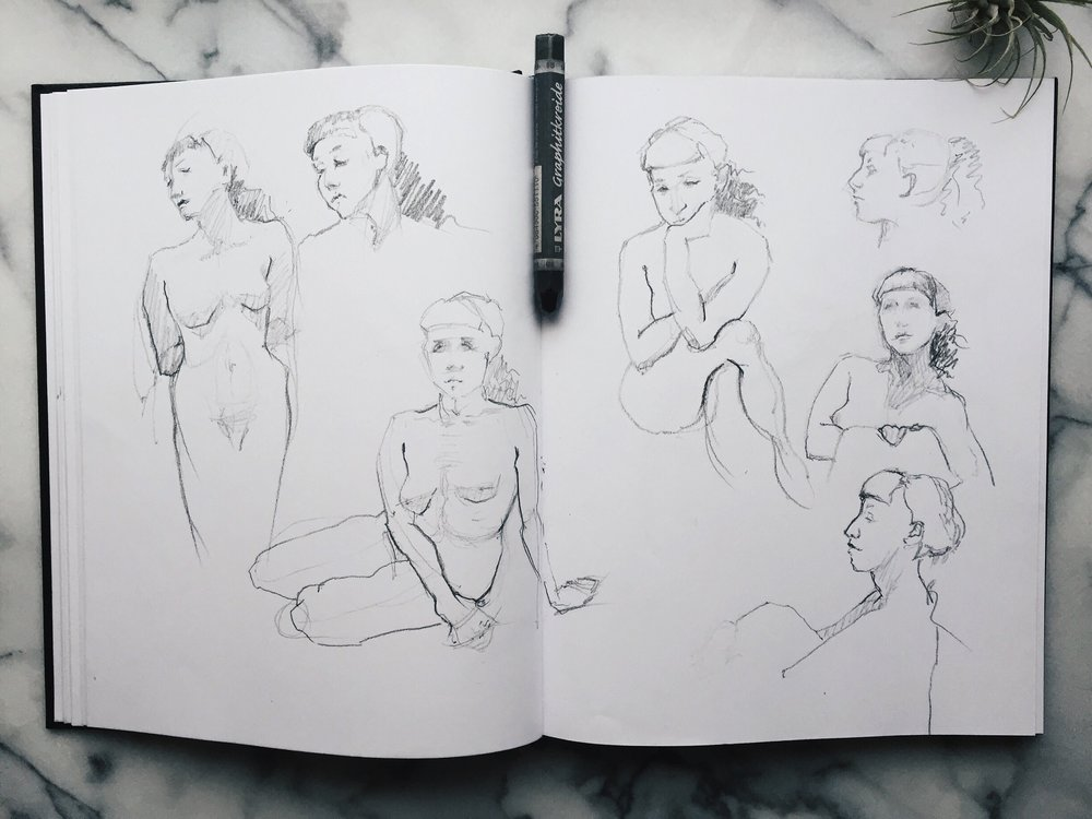 Sketches of a young woman