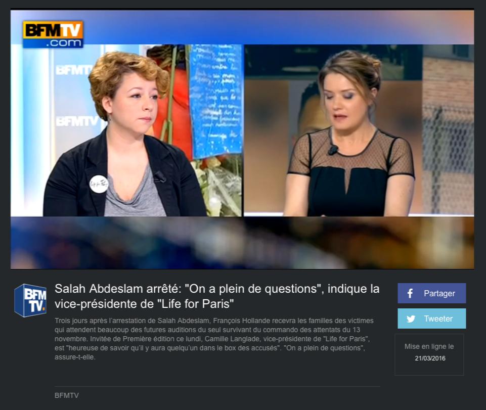"""BFMTV - 21 mars 2016 """"Salah Abdeslam arrêté: """"On a plein de questions"""", indique la vice-présidente de """"Life for Paris"""""""