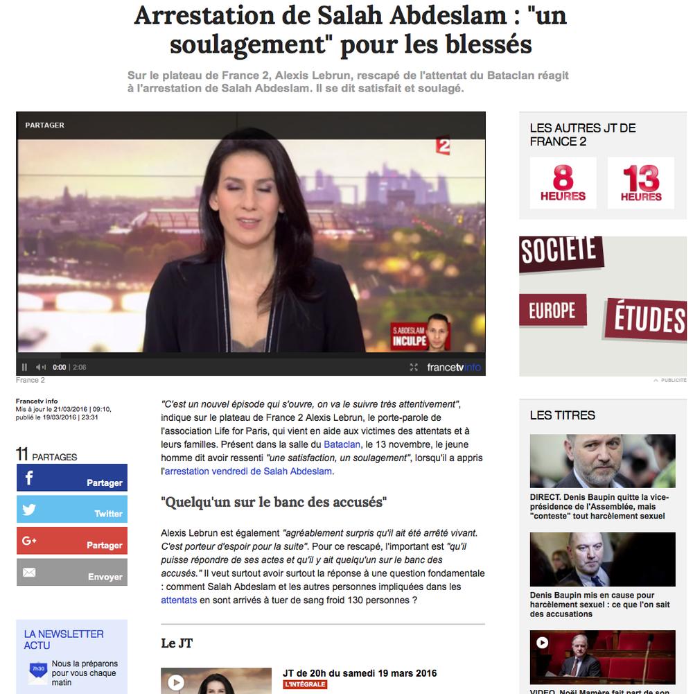 """JT de 20H FRANCE2 - 19 mars 2016"""" """"Arrestation de Salah Abdeslam : """"un soulagement"""" pour les blessés"""""""