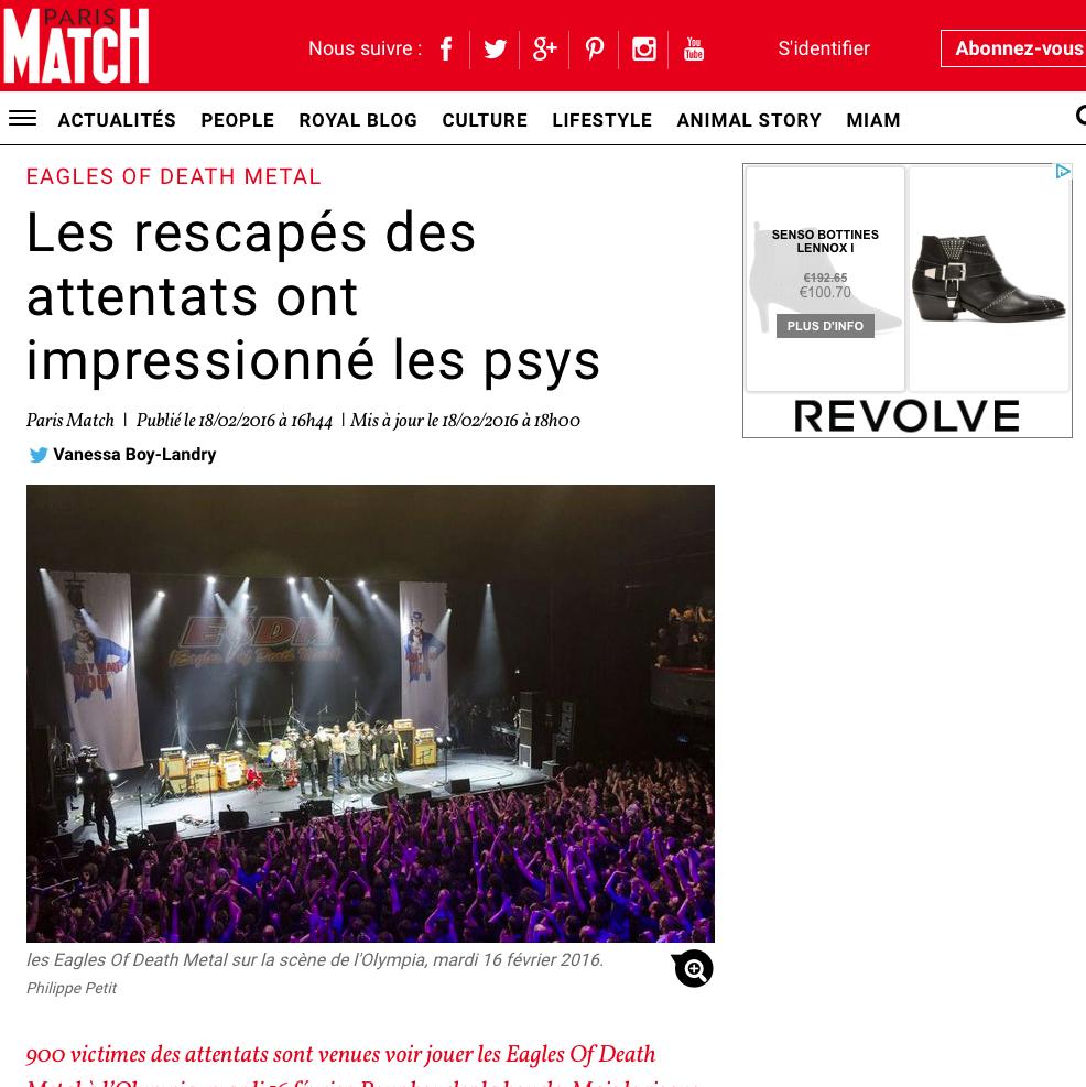 """PARISMATCH.COM - 18 FÉVRIER 2016 """"Les rescapés des attentats ont impressionné les psys"""""""