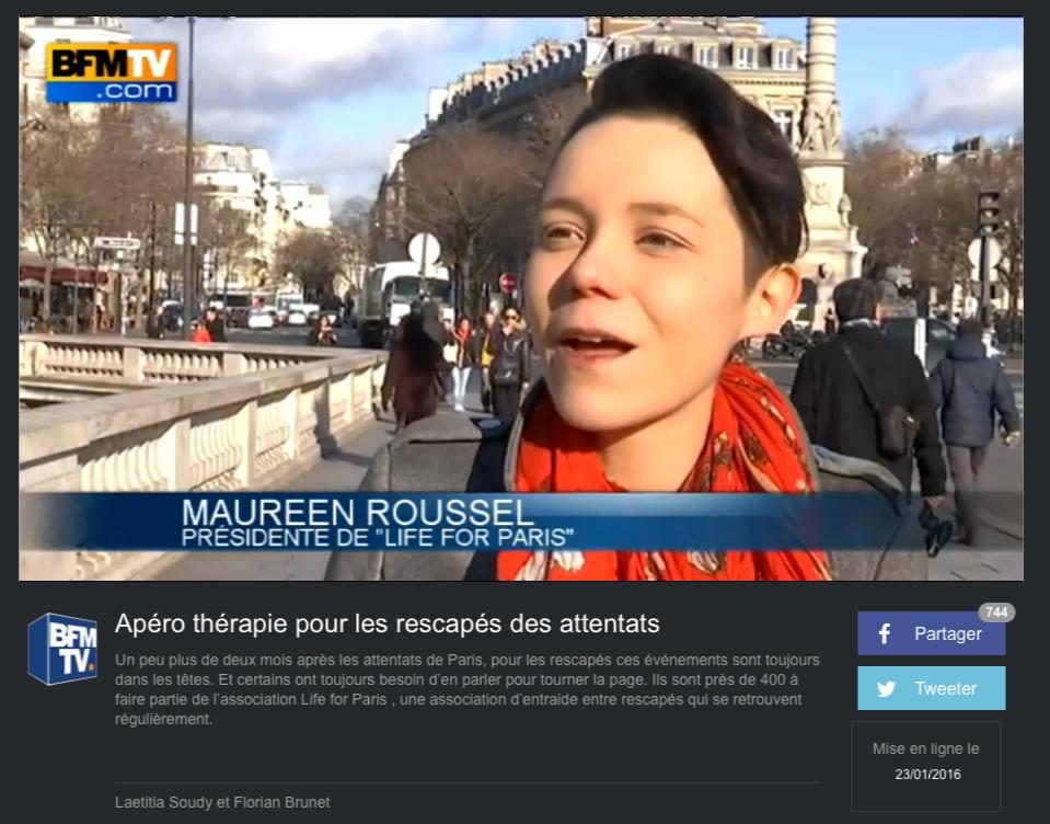 """BFMTV - 23 JANVIER 2016 """"Apéro thérapie pour les rescapés des attentats"""""""