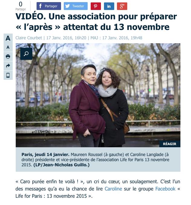 """LE PARISIEN.FR - 17 JANVIER 2016 """"VIDÉO. Une association pour préparer « l'après » attentat du 13 novembre"""""""