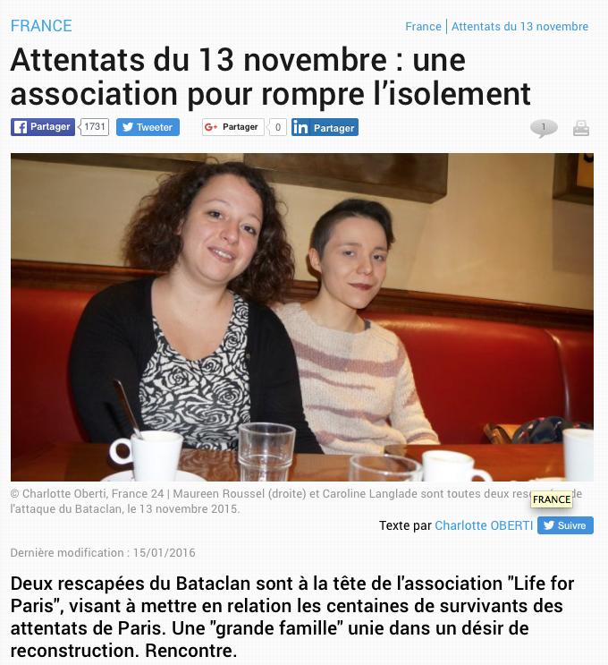 """FRANCE 24.COM - 15 JANVIER 2016 """"Attentats du 13 novembre : une association pour rompre l'isolement"""""""