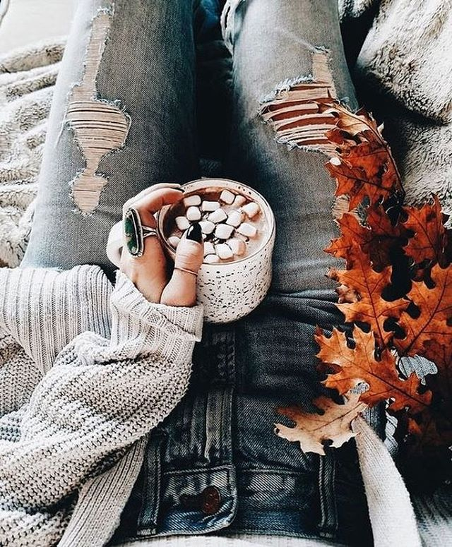 Evening Autumn Perfection:  Coco & Ripped Jeans