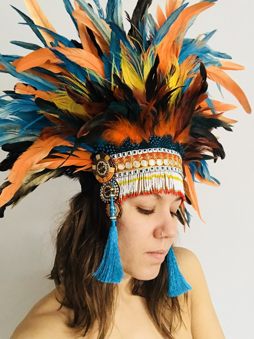 Warrior Woman Rooster Feather Tassel Headdress