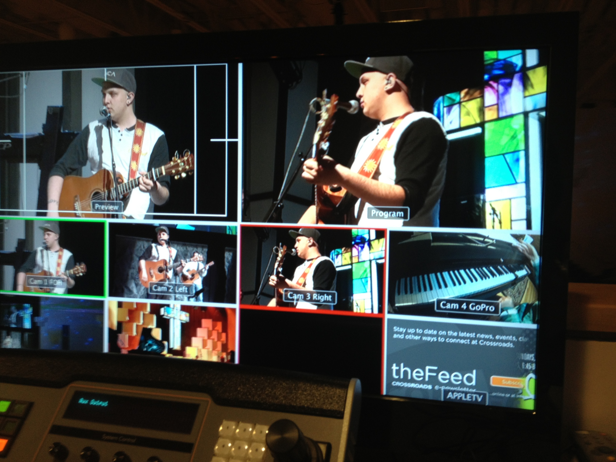 A sneaky pic from the video switcher while the band is rehearsing. I'm hanging with the tech crew!