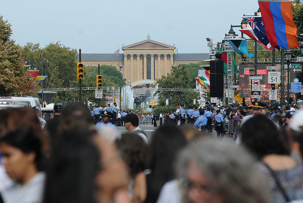 A sea of people stretches to the Philadelphia Museum of Art on the Ben Franklin Parkway the morning of September 26, 2015, during the World Meeting of Families.