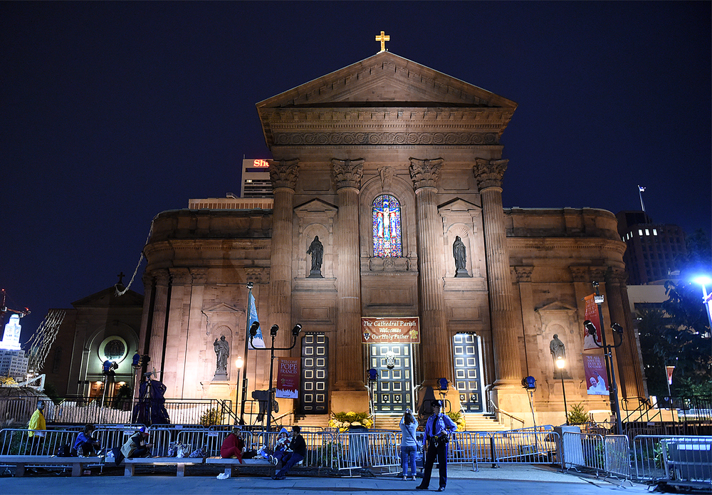 The Cathedral Basilica of Saints Peter and Paul in Philadelphia the night of September 25, 2015, which was preparing for Pope Francis' mass the next day.