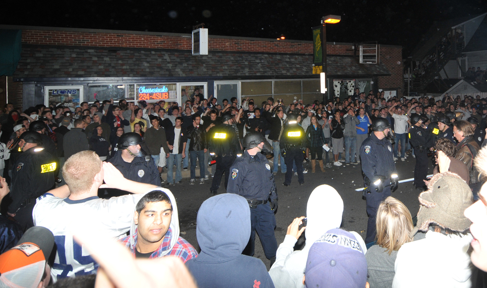Students riot in Beaver Canyon on Wednesday night.