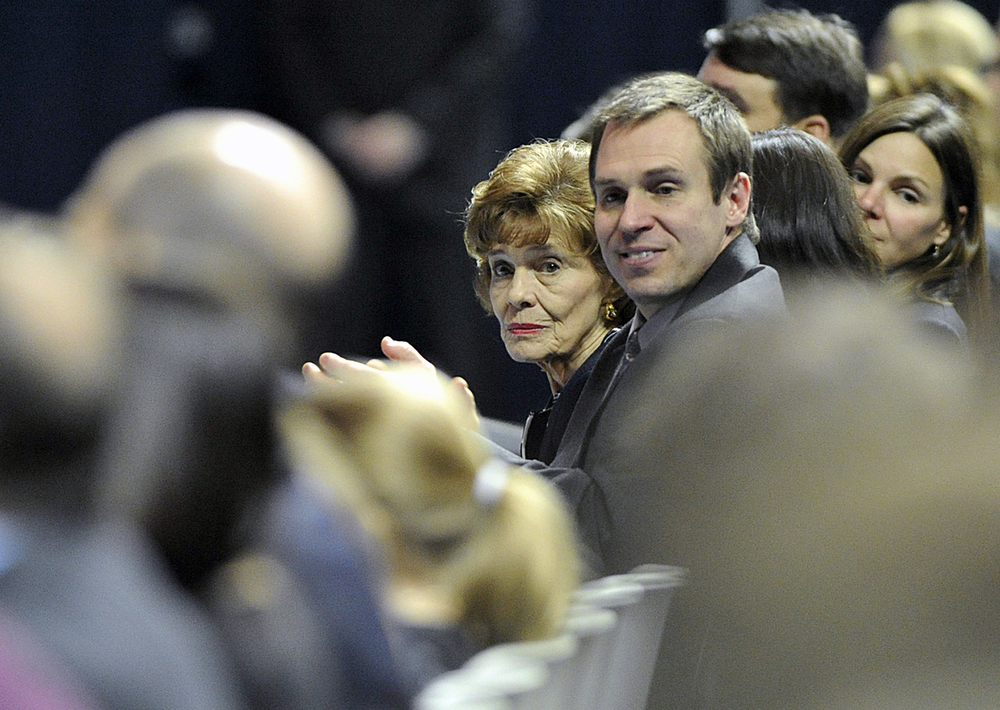 Joe Paterno's wife Sue Paterno and her son Dave sit front row at the Joe Paterno memorial on Thursday, Jan. 26, 2012 in the Bryce Jordan Center.