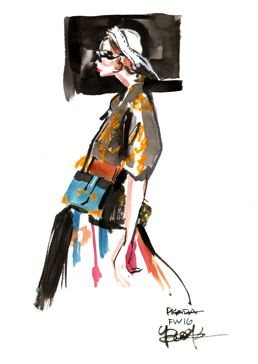 Inspired by Prada FWSS16; ink, watercolor, oil pastel.