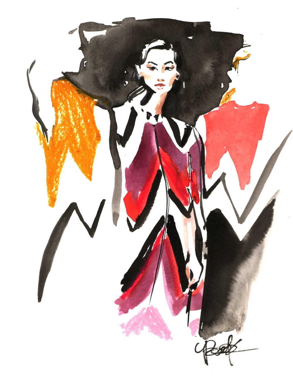 Inspired by Ferragamo FWSS16. Ink, watercolor, oil pastel.