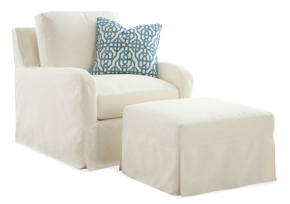 Halsey Chair/Ottoman Slipcovered