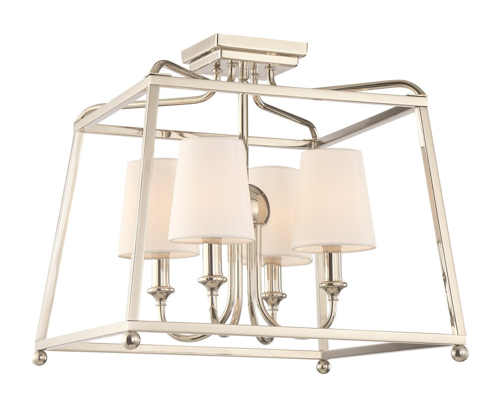 "Product Name:  Crystorama Sylvan 4 Light Polished Nickel Ceiling Mount  Dimensions:  w16 x h15.5 x d16 (in)  Total Number Lights:  4  External Lights:  4  Total Wattage:  240  Bulb Type:  Medium  Material:  Steel  Finish:  Polished Nickel  Canopy Size:  4.75"" x 1"" x 4.75"" (in)  Item Weight:  3  Package Weight:  11  Shade Size:  3"" x 4"" x 4.5"" (in) Empire"