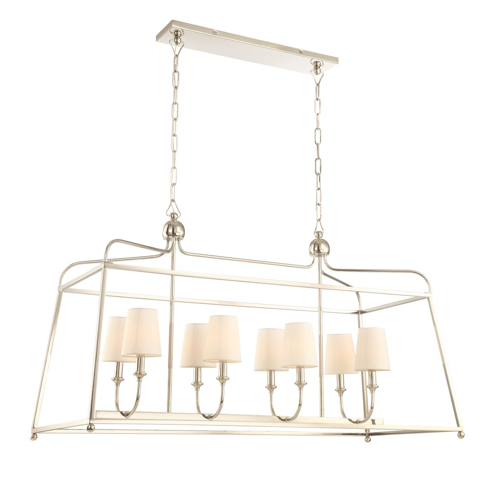 "Product Name:  Crystorama Sylvan 6 Light Polished Nickel Chandelier  Dimensions:  w18 x h25 x d42 (in)  Total Number Lights:  6  External Lights:  6  Total Wattage:  360  Bulb Type:  Candelabra  Material:  Steel  Finish:  Polished Nickel  Canopy Size:  4.5"" x 21.25"" x 4.5"" (in)  Chain Length:  72""/120""  Item Weight:  10  Package Weight:  29  Shade Size:  3"" x 4"" x 4.5"" (in) Empire"