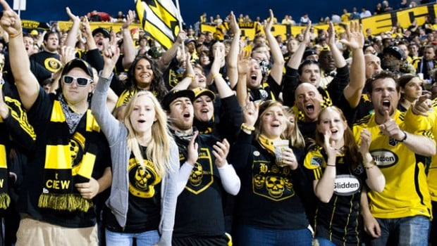 Columbus Crew SC supporters in the Nordecke. (image courtesy of columbuscrewsc.com)
