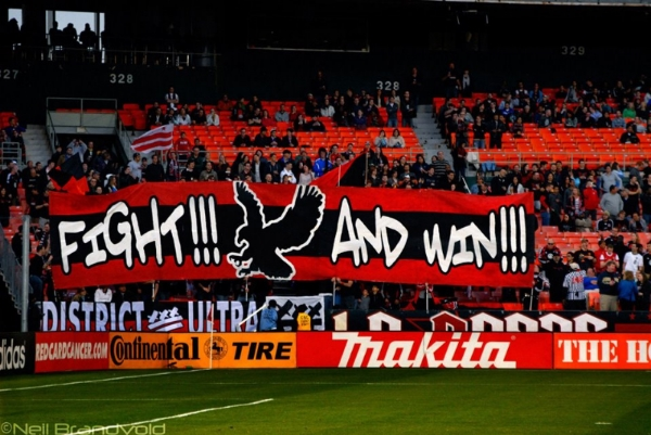 DC United Supporters Group, District ultras, show off their tifo display.