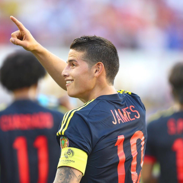 James Rodrgiuez scored Colombia's second goal in their 2-0 win.