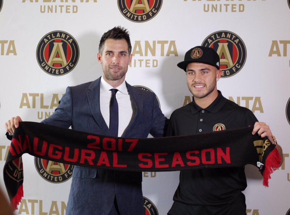 Villalba with Atlanta United technical director Carlos Bocanegra (courtesy Atlanta United)