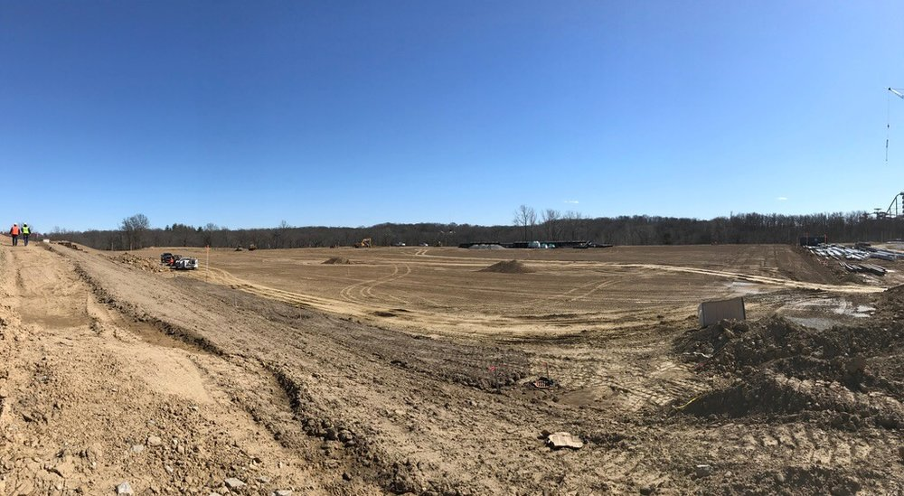 The site of the super pitch, which will include three full sized soccer fields fitted with fiber connections that will allow players and coaches to instantly review training footage in the sidelines.