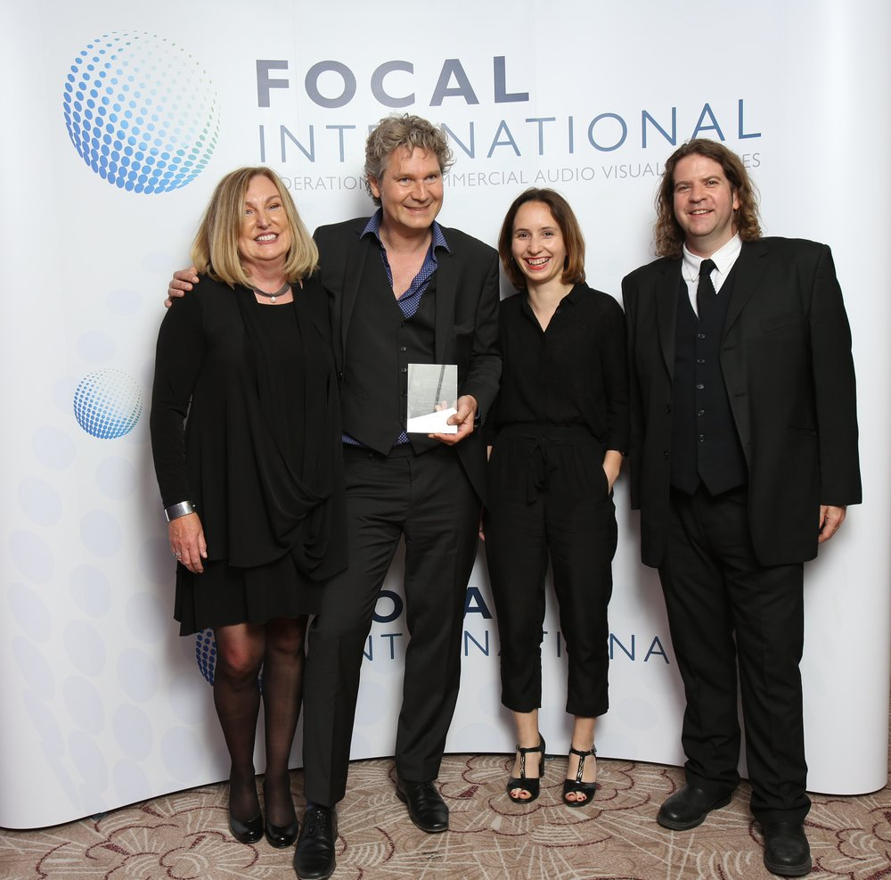 Elizabeth klinck and thorsten schutte  at the 2017 focal awards. With Raphaëlle Cittanova from Films du Poisson and Paul Bowman, Head of Film Culture at Film london (the award sponsor).