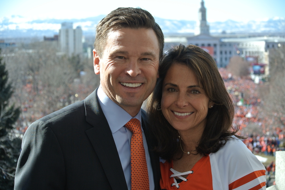 Cole and Susan at the Denver Broncos 2016 Super Bowl victory parade