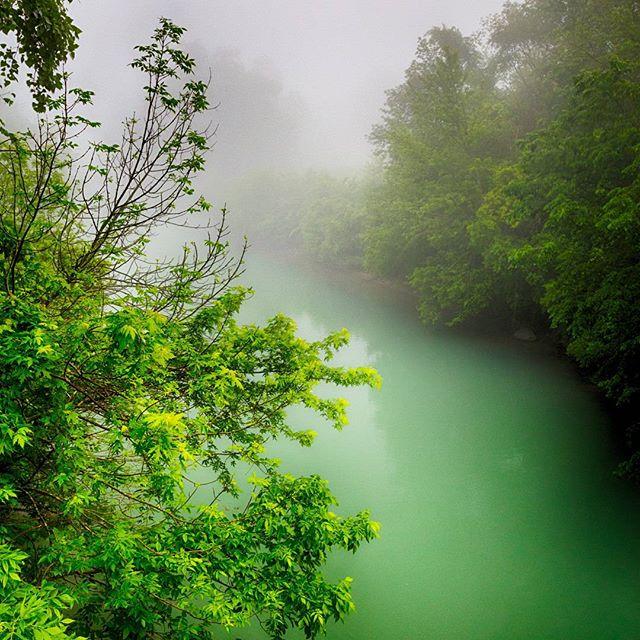 Mist rises off the channel after several unseasonably warm days. Autumn advances... #naturespace #autumn #river