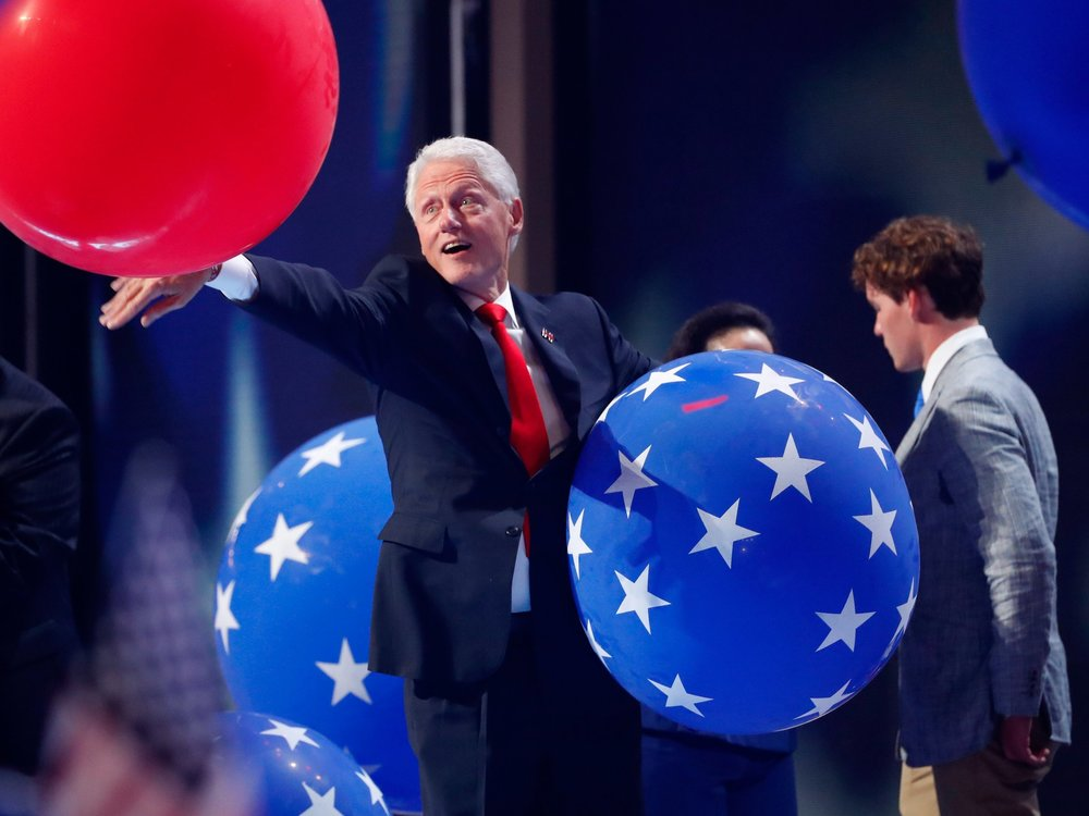 President Clinton having an absolute BLAST playing with balloons after his wife accepted the Democratic Nomination to be President.
