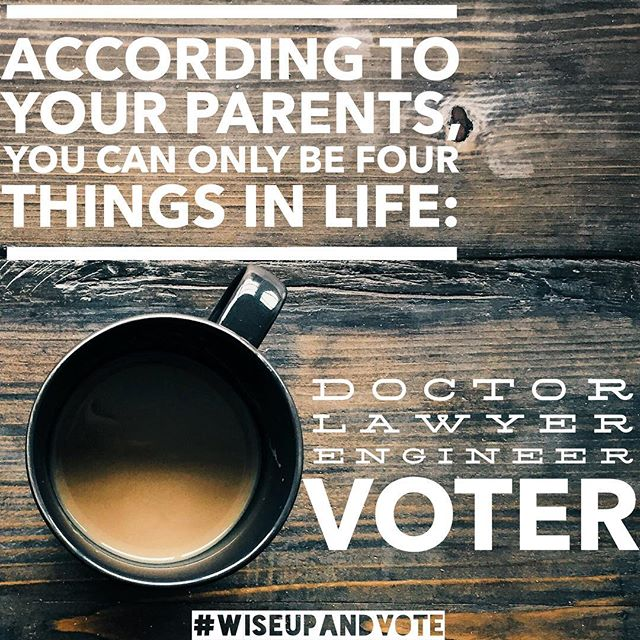 You know every Desi parent wants a VOTER in their family! So, give your parents the opportunity to brag about you to their friends and family by registering to vote by October 9th! You can register at: VoteTexas.Gov. Trust us, being a voter is WAY easier than the other career paths! #WiseUpandVote . . . . .  #WiseUp #podcast #blogpost  #politicalnews #politics #news #blogging #blog #voting #vote #america #atx #austin #potd #podcasting #election #desi #southasian #hindu #sikh #muslim #texas #txlege #dallas #houston #satx #gotv