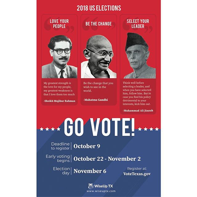 Today is #NationalVoterRegistration day! The deadline to register to vote in Texas for the November election is October 9th! WiseUp TX has been posting these posters at South Asian stores and restaurants to Get Out the South Asian vote. We have posted them around 50 different establishments around the DFW, Houston, and Austin areas.  We used quotes and photos of the founders of Bangladesh, India, and Pakistan to capture the attention of first generation South Asian Americans and remind them the importance of voting this November. This is an election our community CANNOT sit out. So if you haven't registered yet, please do so at www.votetexas.gov!  Finally, if you'd like a poster to post at your business please let us know—email: contact@wiseuptx.com! . . . . #wiseupandvote #gotv #govote #WiseUp #podcast #politicalnews #politics #news #voting #vote #america #atx #austin #potd #podcasting #election #desi #southasian #hindu #sikh #muslim #texas #txlege #dallas #houston #satx #NVRD