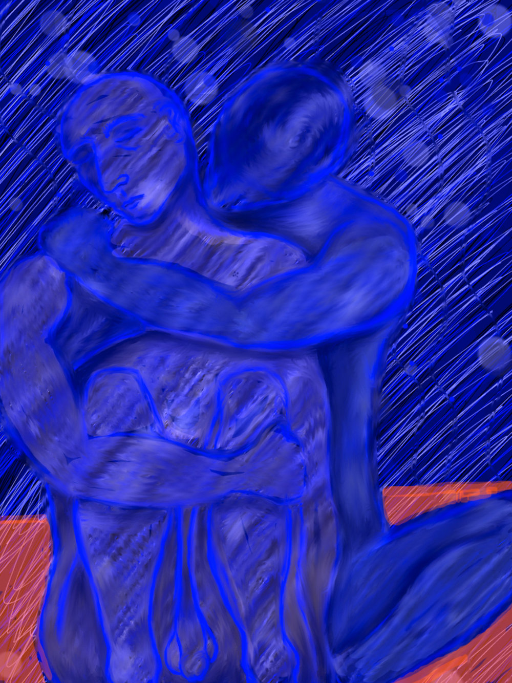 Rain, from Coupling Love is…., The book is available on iBooks. The entire series includes 36 abstract and erotic digital paintings.