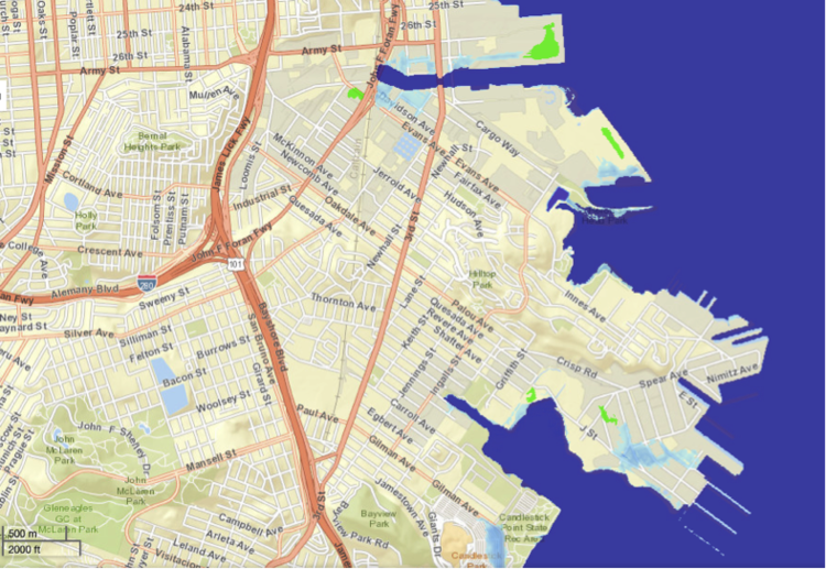 Soil remediation and sea level rise in san francisco toxic three feet of sea level rise in bayview hunters point noaa 2014 the shipyard is only one place in bayview hunters point threatened by sea level rise publicscrutiny Images