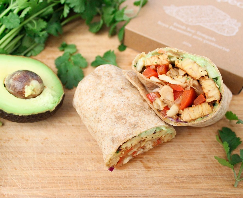 BBQ Tempeh Wraps - with Creamy Avocado Cabbage and Sautéed Peppers