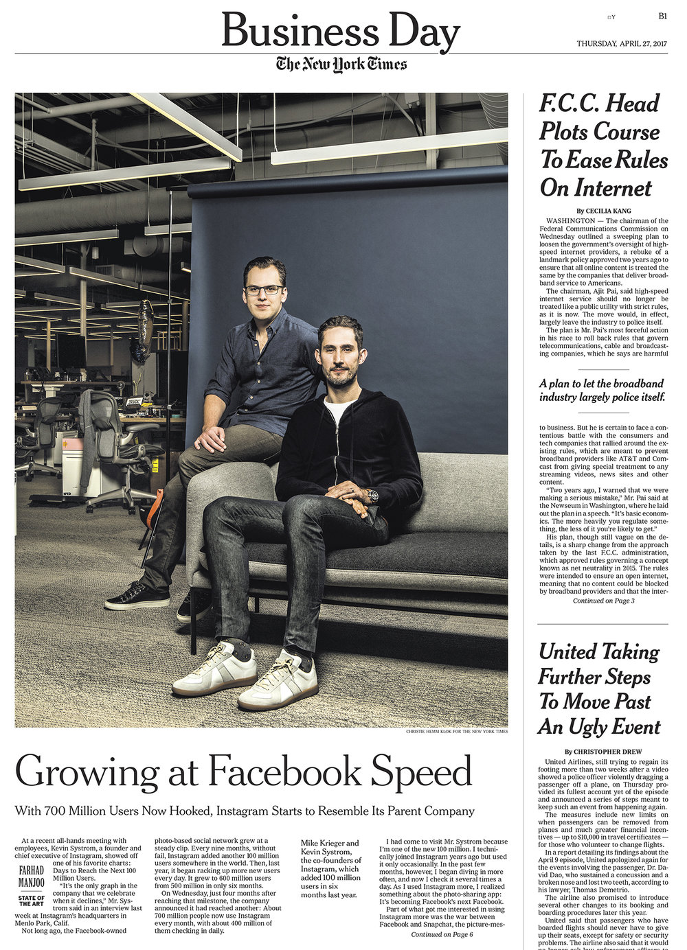 nstagram founders, Kevin Systrom and Mike Krieger for The New York Times.