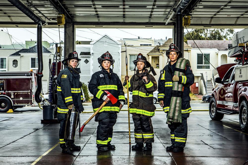 Erin Murphy, Yvette Otega, Stacey Lee, Katherine Alba-Swanson, at Station 18.