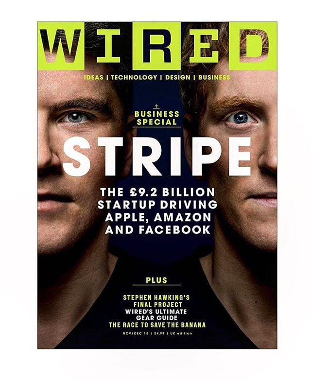 Really excited about this cover for @wireduk of the founders of Stripe. Thank you @cparthonnaud for the assignment and @cayceclifford for the assist.