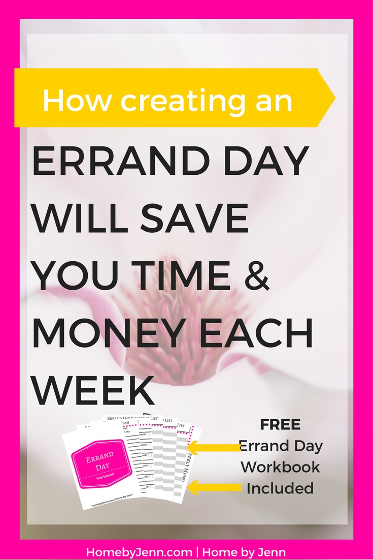 Setting up an errand day can save you 3 or more hours a week!  This post will show you how to save yourself loads of time and some money by setting up an errand day.  Included in this post is a free errand day workbook so you can implement this now.  Take action now and click through to start saving yourself 3 or more hours a week by doing this one thing!