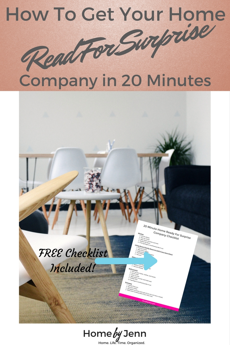 You get a phone call from some unexpected guests, what are you to do?!? This is a step by step guide to get your home ready for surprise company in 20 minutes. This post will show you how to prioritize your efforts so you can efficiently tidy up your home. To help you succeed, there is also a FREE checklist to download. Click through to take action now!