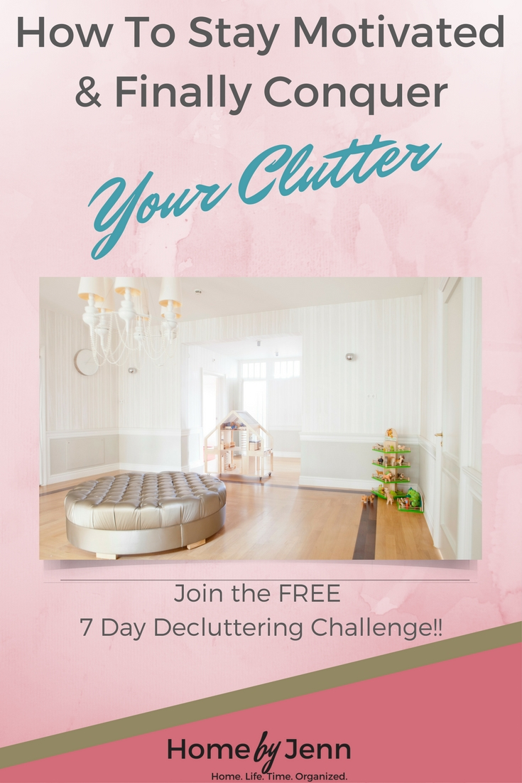 Finally, learn how to stay motivated to conquer your clutter. Join the FREE 7-day decluttering challenge with hundreds of other busy moms!