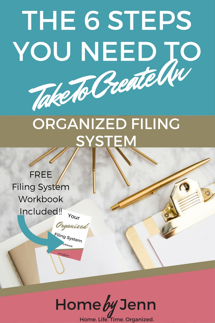 Create an organized filing system in 6 simple steps.  In this post you'll learn how to create a filing system that is organized in no time at all.  Don't forget to download the FREE workbook that is included!