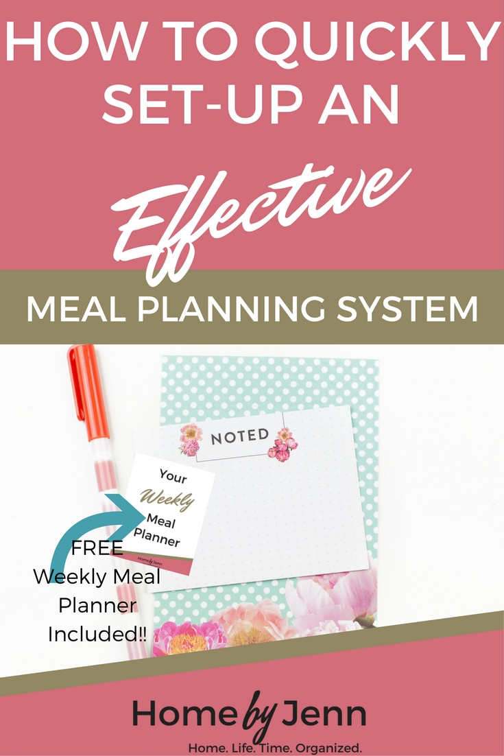 In this post you'll learn how to quickly set-up an effective meal planning system that will save you time and money each week.  Don't forget to download the free weekly meal planner to keep you organized and save you time.